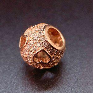 Authentic Pandora Rose Gold Charm Tumbling Hearts